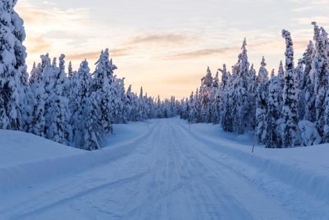 Winter landscape road in Lapland
