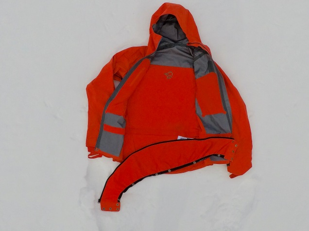 Snowskirt unzipped placed in position